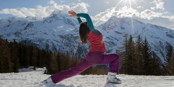 Corrina Levi Warrior 1 Pose in the French Alps