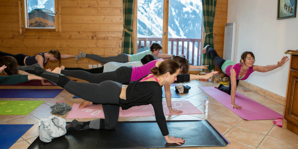 Yoga class skiing holiday