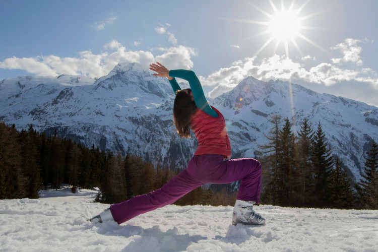 Skiing and yoga corrina warrior pose