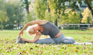 revolved head to knee yoga pose