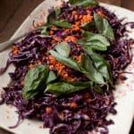 Tasty salad with purple cabbage