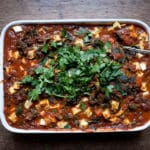 Aubergine, bean and tofu bake