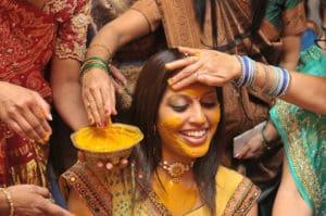 Turmeric face mask indian bride