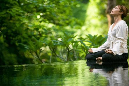 Meditation in lotus pose