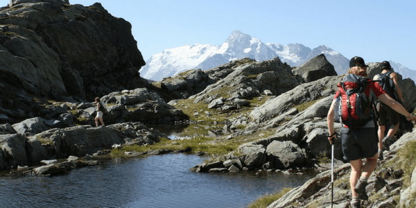Top of mountain views of glacier and glacial lake