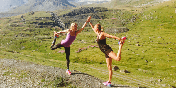 Wenche Beard and Guest in Dancer Pose - French Alps