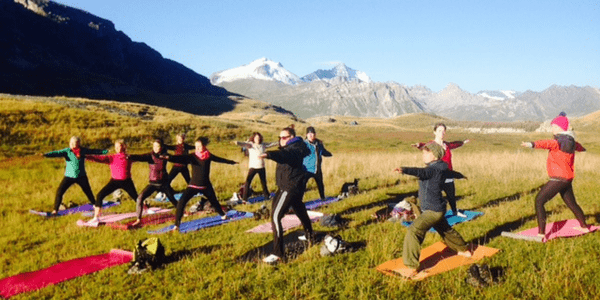 Sunrise Yoga Class in the French Alps