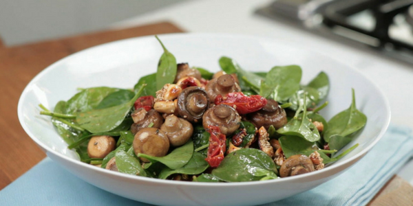 Mushrooms, Tomatoes and Spinach