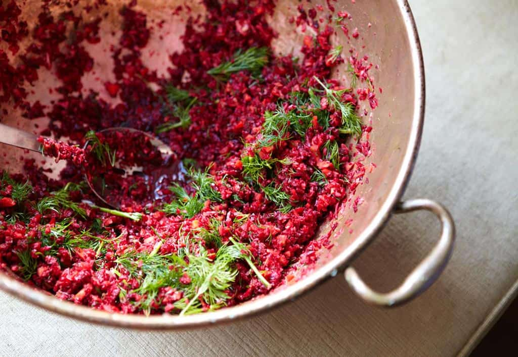 bowl grated beetroot salad
