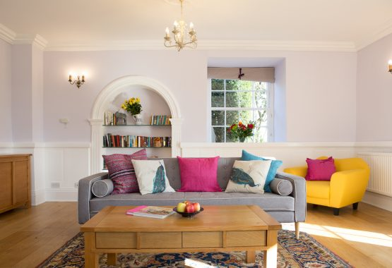 living room with sofa and coffee table Thrupp Oxfordshire venue