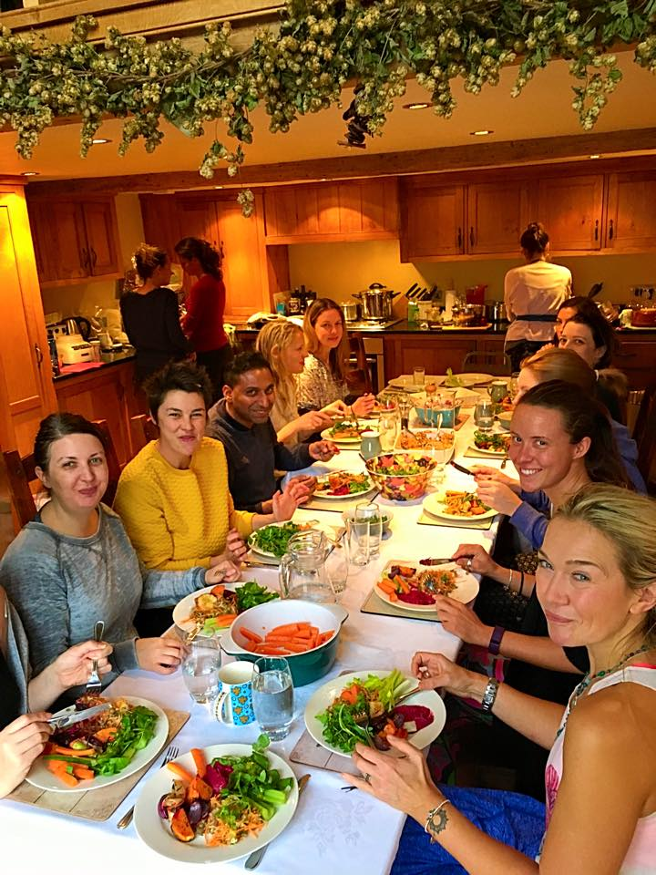 Guests having brunch east sussex yoga retreat