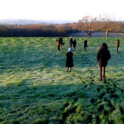 Winter morning silent walk and sunrise