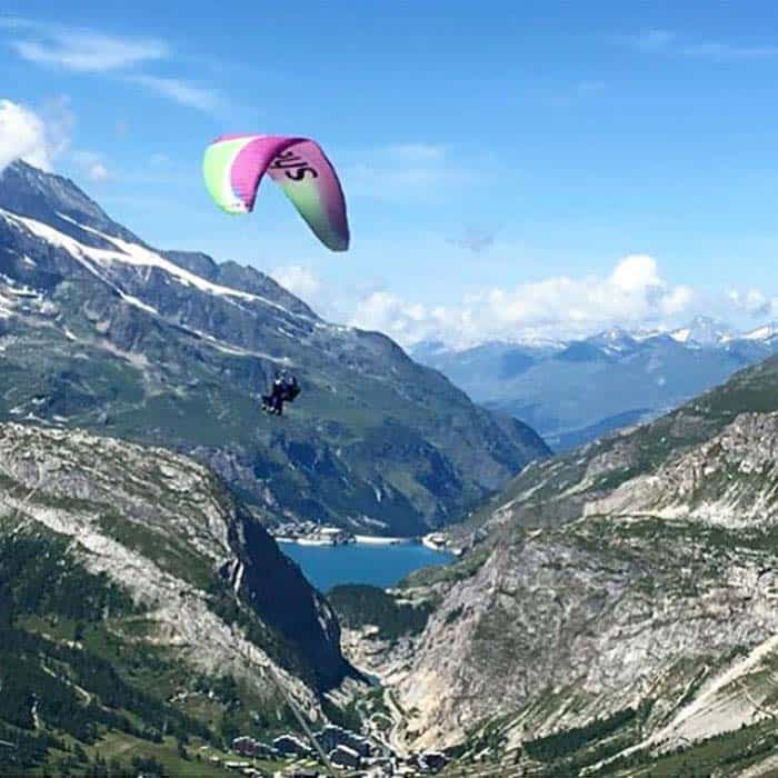 Parapenting over val D'Isere in France