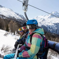 guests on ski lift french alps skiing and yoga holiday