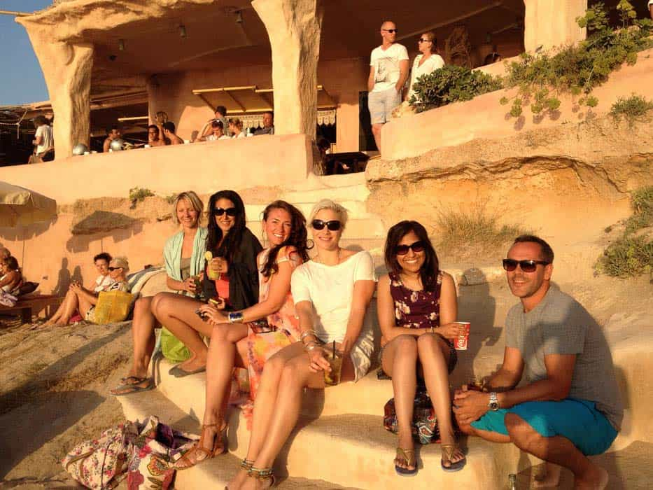 group shot of guests watching sunset ibiza