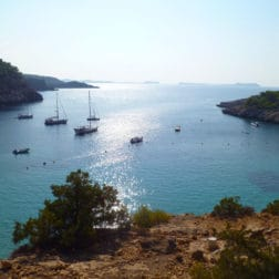 View of the sea and boats Ibiza