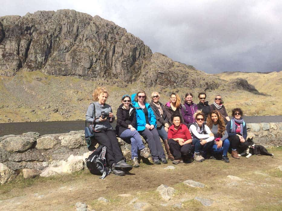 group photo on hike lake district