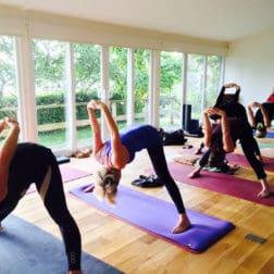 yoga class lake district wide legged forward fold
