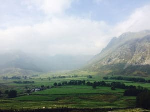 Views of the Lake District - huge valley with clouds