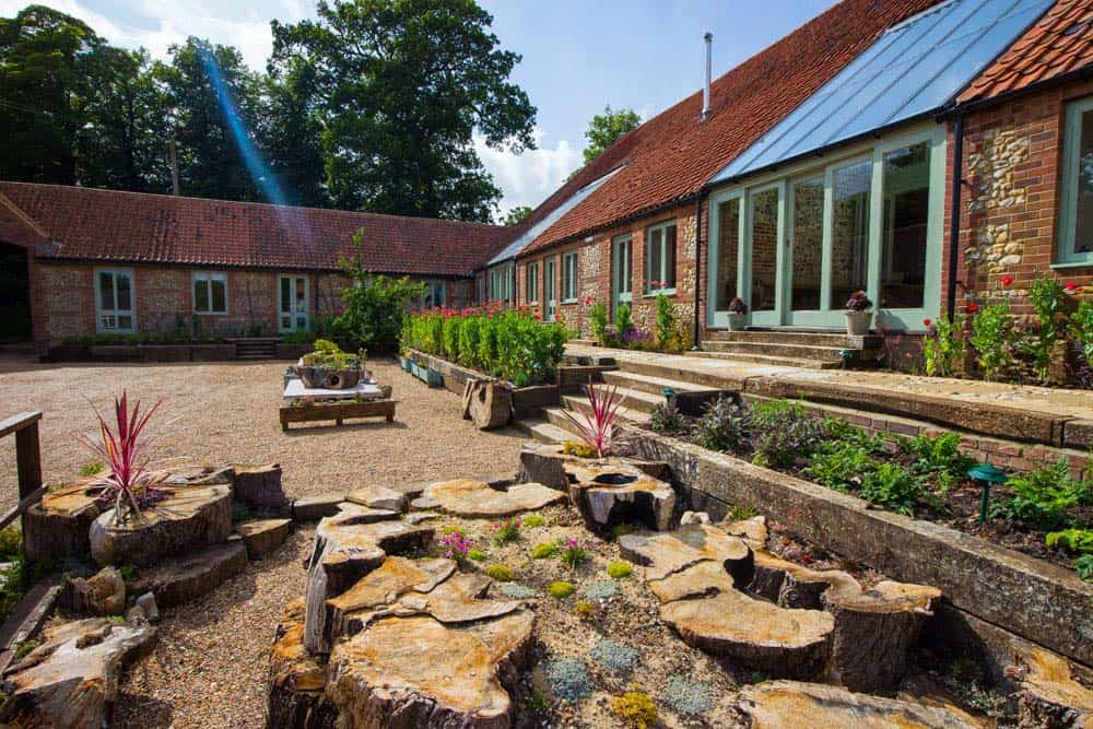 view of the length of the courtyard barns norfolk yoga retreat