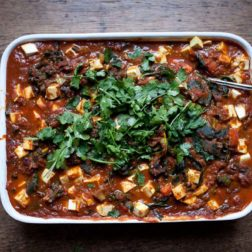 Tofu and tomato bake with coriander