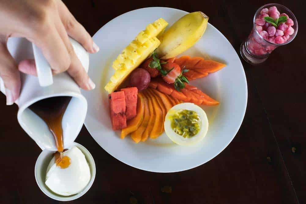 mango, papaya, watermelon and passion fruit salad