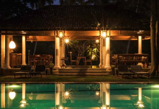 evening shot of pavilion and pool area sri lanka