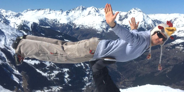 Acro yoga on snow sports and yoga holiday france