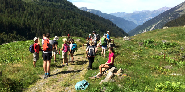 guests hiking in the french alps