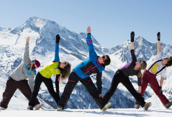 Yoga, Adventure and the Flow State - AdventureYogi guests in France Snow sports and Yoga Holiday