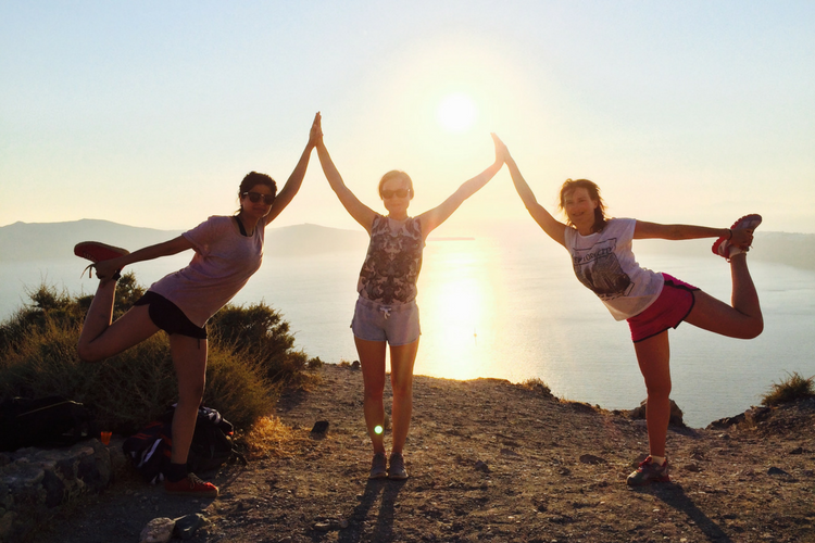 Yoga Guests in Santorini