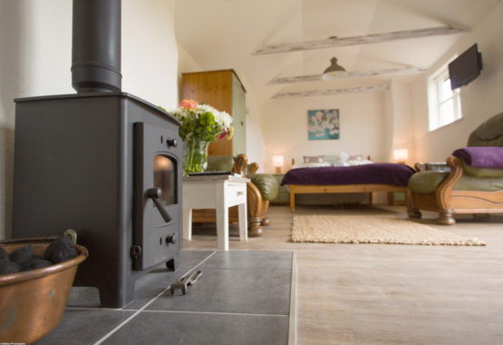 The studio wood burner double bed