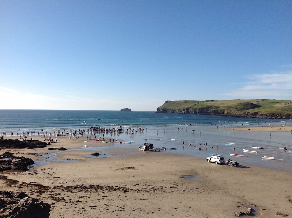 Polzeath beach Cornwall view of whole beach