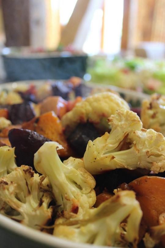 cauliflower, sweet potato and beetroot warm salad