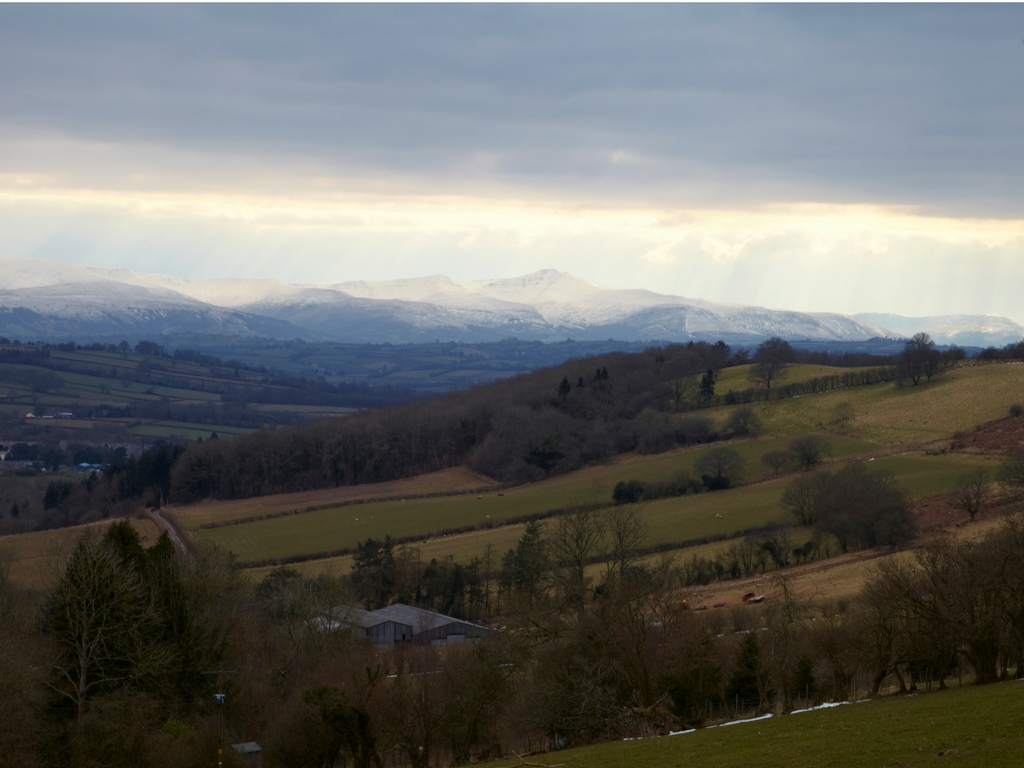 snowcapped muntains brecon beacons wales