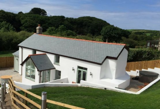 The cottage exterior cornwall white walls and slate tiles