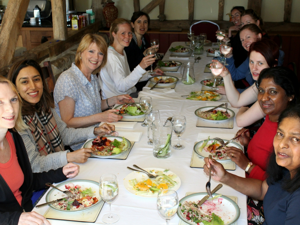 guests eating lunch yoga detox east sussex