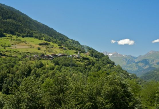 mountain view from chalet summer hiking and yoga france