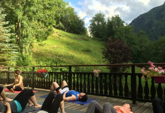 evening yoga class hiking and yoga holiday france