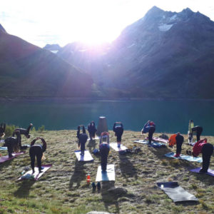 Yoga on a mountain top in France