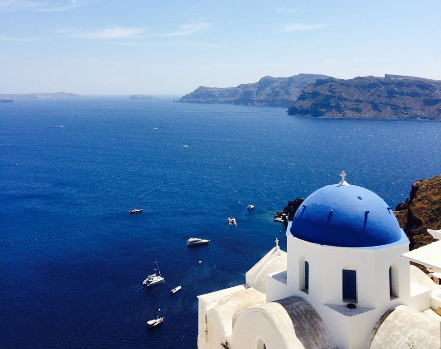 Sunshine and yoga in Santorini, Greece