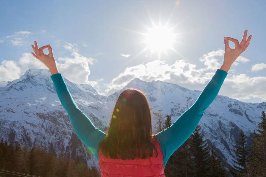 Yoga and Skiing in the French alps