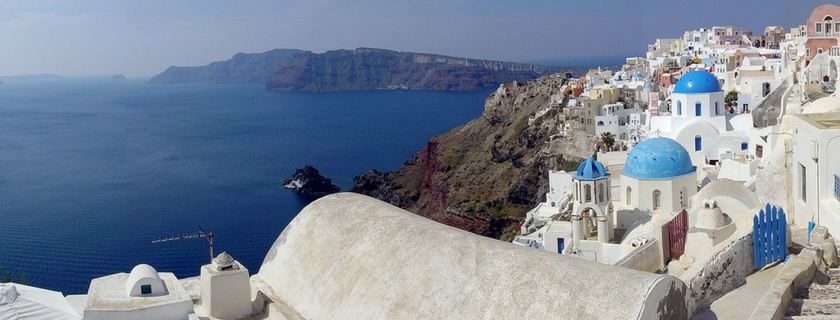 santorini and view of caldera