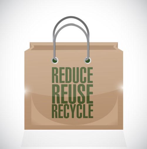 reduce reuse recycle brown paper bag