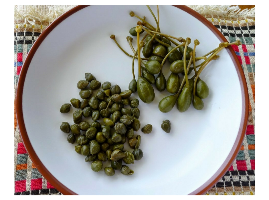 santorini capers on white plate