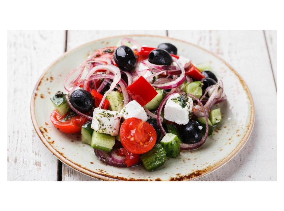 Santorini greek salad on plate on table