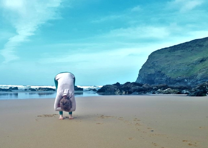 forward fold on beach cliffs and sea cornwall