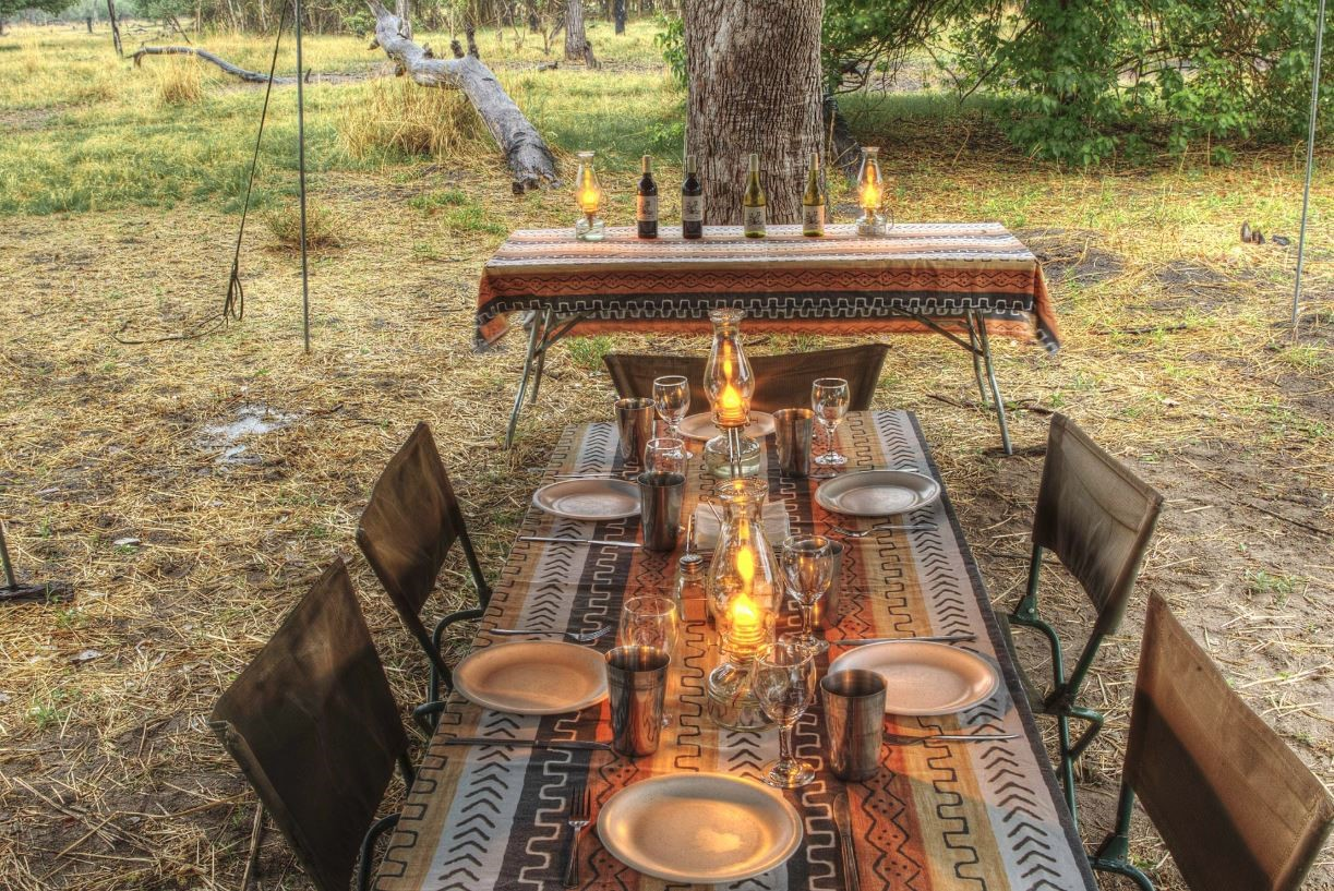 dineer table private camp safari yoga botswana
