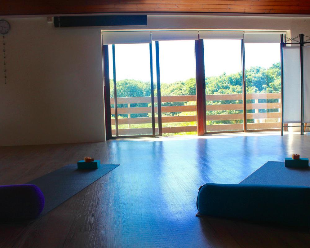 yoga room - doors - sun - yoga mat