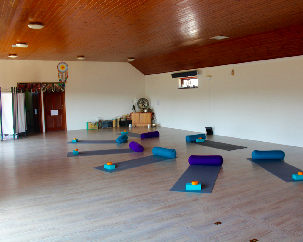 yoga room mats blocks straps out